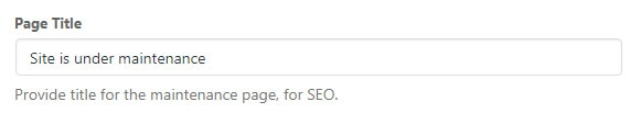 Maintenance Mode page titles SEO