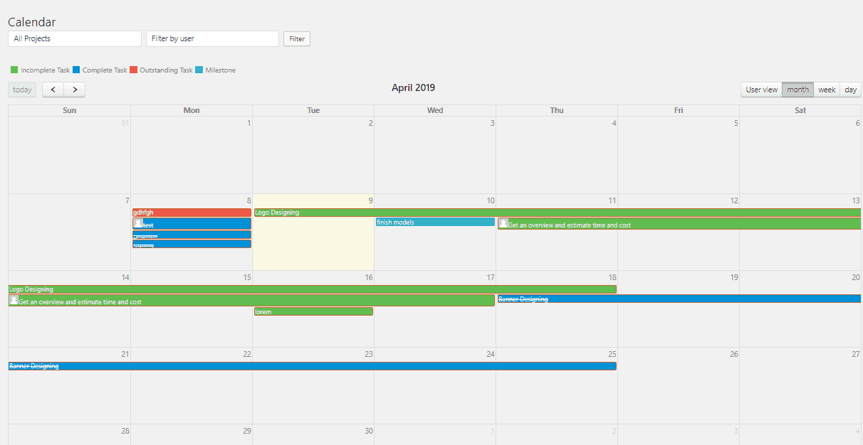 Use the calendar to keep an eye on multiple project deadlines at once