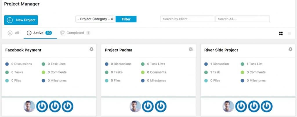 Use the dashboard to get an overview of all the projects you've started and finished