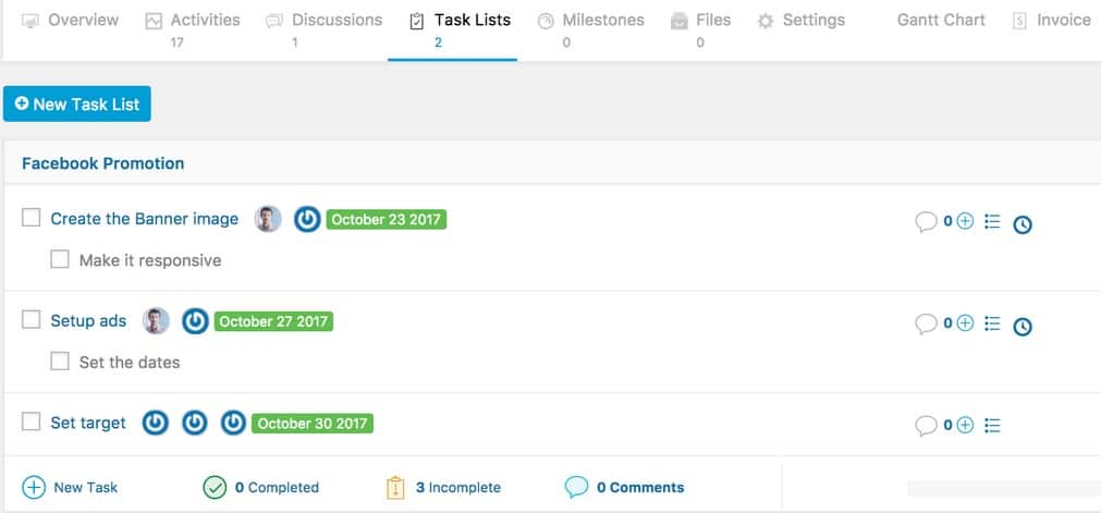 Get detailed task lists for every project