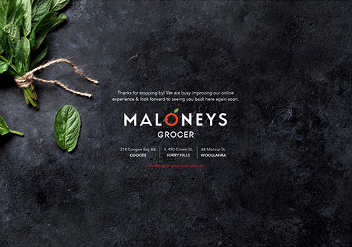 www.maloneysgrocer.com.au uses the Minimal Coming Soon WordPress plugin