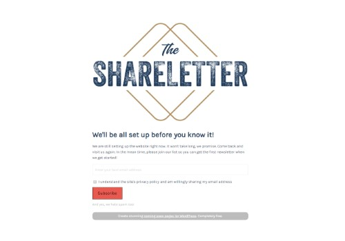 theshareletter.com uses the Minimal Coming Soon WordPress plugin